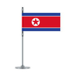 north korean flag on the metallic pole vector image