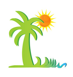 Palm tree and tropical environment icon vector