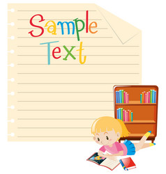 paper template with girl reading book vector image