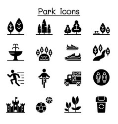 park icon set vector image
