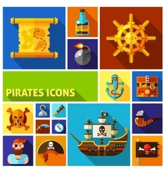 Pirates Flat Cartoon Icons vector image