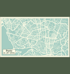 porto portugal city map in retro style vector image