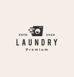 quick fast laundry wash hipster vintage logo icon vector image