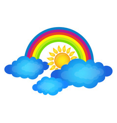 rainbow above clouds and sun vector image