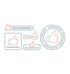recommended icon set line label recommended with vector image