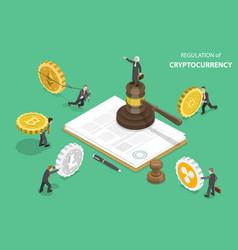 Regulation cryptocurrency isometric flat vector