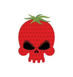 Ripe Strawberry skull Red head skeleton with vector