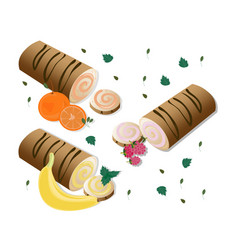 Roll cakes with fruits sweets dessert vector