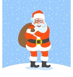 Santa Claus holds bag with Christmas gifts cartoon vector image