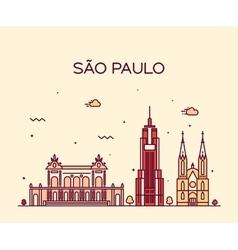 Sao Paulo skyline trendy linear style vector
