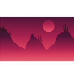 Scenery hills and animal in fog vector