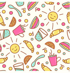 Seamless pattern with breakfast items vector