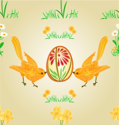 Seamless texture birds and easter eggs vector