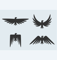 Set eagle silhouettes eagles logo vector