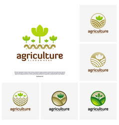 Set of agriculture logo concept nature farm logo vector