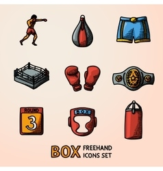 Set of boxing hand drawn color icons - gloves vector