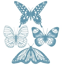 set of hand-drawn butterflies vector image
