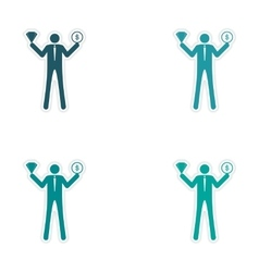 Set of stylish sticker on paper man holding vector image