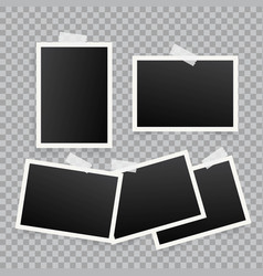 Set of template photo frames with shadow on vector