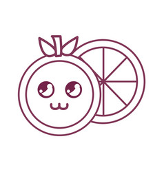 Silhouette kawaii cute thinking orange fruit vector
