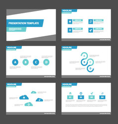 Simple blue presentation templates Infographic set vector