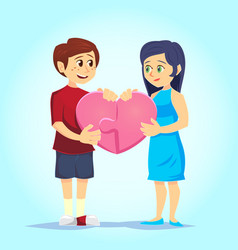 smiling young man and woman lovingly put together vector image
