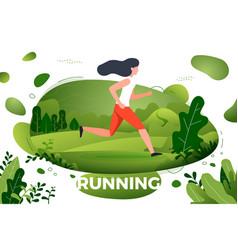 Sporty girl running in park vector
