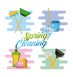 Spring cleaning service tools for cleanliness and vector