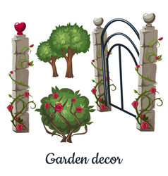 Stone gate overgrown with roses garden decor vector