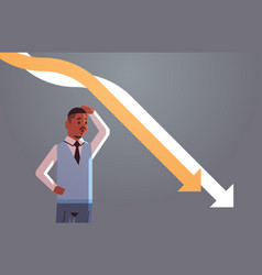 stressful businessman looking at falling down vector image