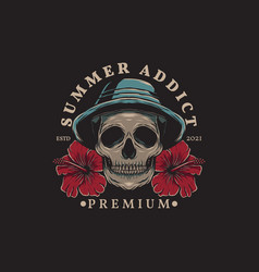 summer skull wearing hat and hibiscus flowers vector image