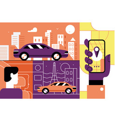 taxi service online mobile application concept vector image