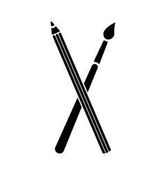 The crossing pencil with a brush icon Painting vector image