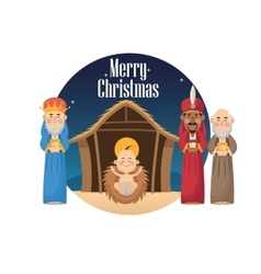 Three wise men with gift and baby jesus design vector