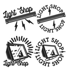 vintage light shop emblems vector image