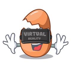 Virtual reality shell of broken egg on the mascot vector