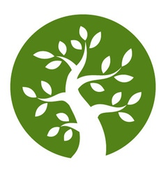 White Bold Tree icon on green background vector image