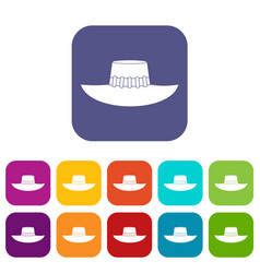 Woman hat icons set flat vector