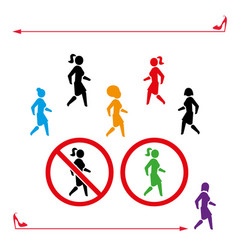 woman icon walk and don t walk set people back vector image