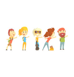 Young tourist characters wearing comfy outfit vector