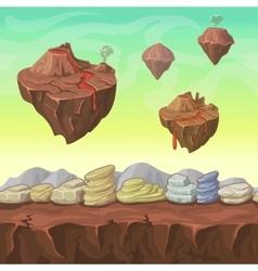 Cartoon nature landscape islands and stones vector image