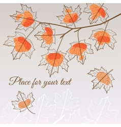 Linden leaf orange style with place for your text vector image vector image