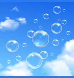 Soap Bubbles Blue Sky Realistic Background vector image