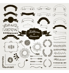 Black Hand Drawn Design Elements and vector image