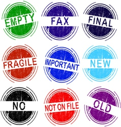 Grunge Stamps Set of 9 office stamps 2 of 4 vector image