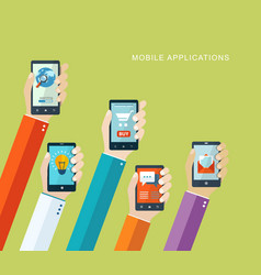 mobile applications flat concept vector image
