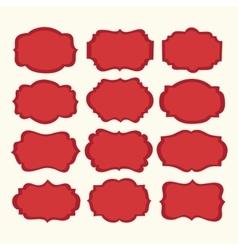 set red vintage labels and frames vector image