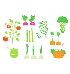 Smiling veggies set vector image vector image