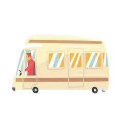 Vintage cartoon travel minibus camper van vector
