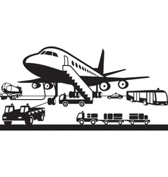 Airport support vehicles vector image vector image